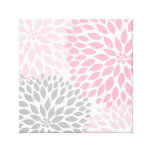 Pink and Grey Dahlia Square Wall Art Canvas Print