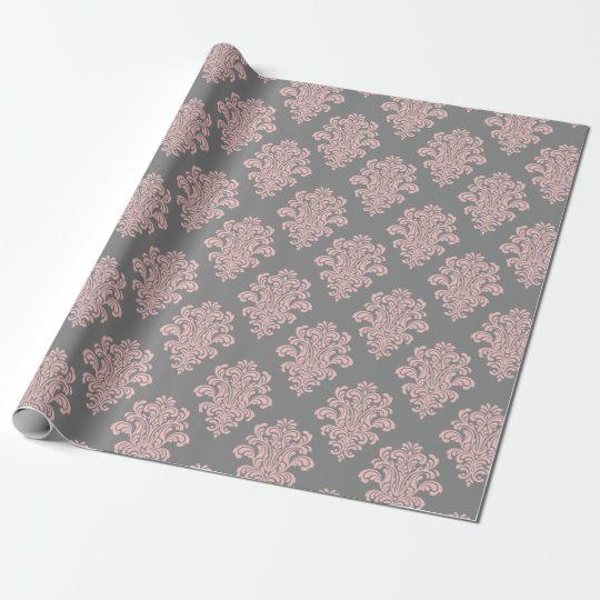 Pink and Grey Damask Pattern Wrapping Paper