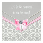 Pink and Grey Damask Pink Bow Princess Baby Shower Personalized Invitations