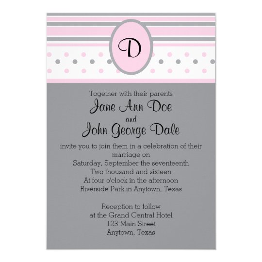 Pink and Grey Dots and Stripes Invitation