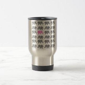 Pink and Grey Elephant Art Stainless Steel Travel Mug