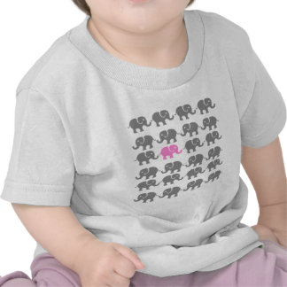 Pink and Grey Elephant Art T Shirt