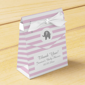 Pink and grey elephant baby shower party favor box