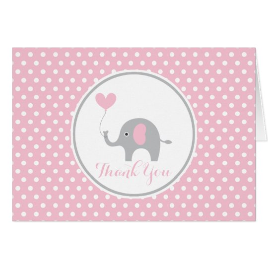 Pink and Grey Elephant Birthday Thank You Note