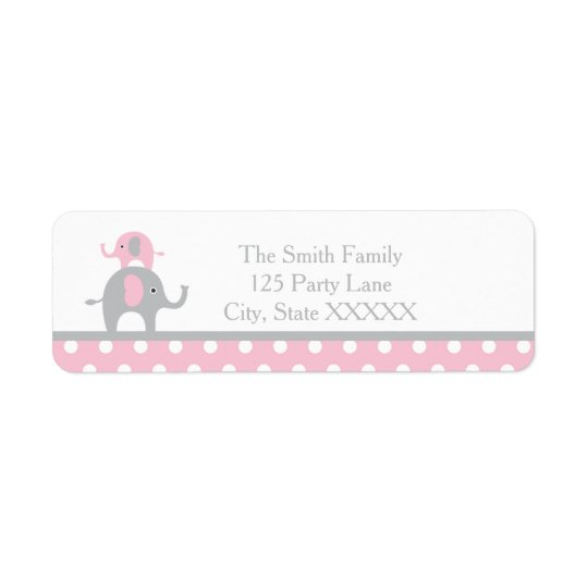 Pink and Grey Elephant Return Address Label