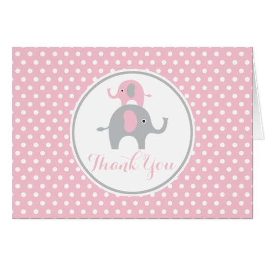 Pink and Grey Elephant Thank You Note Card