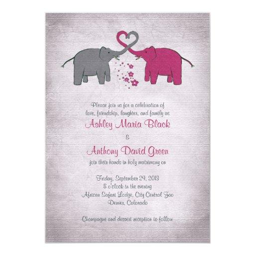 Elephant Wedding Invitations Pink And Grey Elephant Wedding