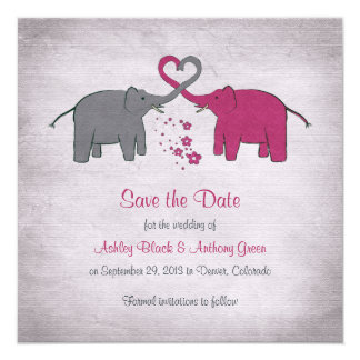 Pink and Grey Elephant Wedding Save the Date Card