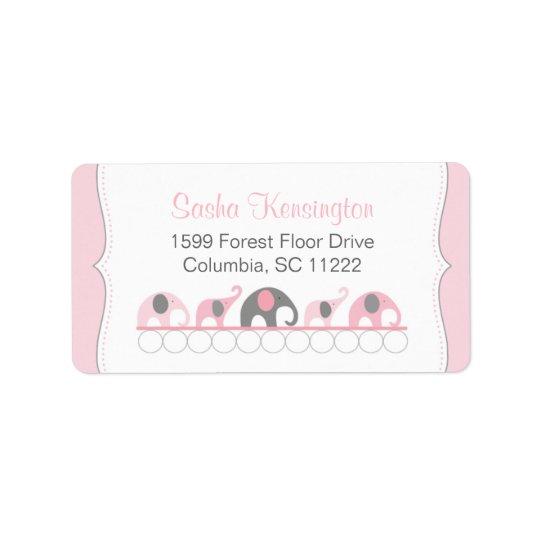 Pink and Grey Elephants Baby Girl Shower Address