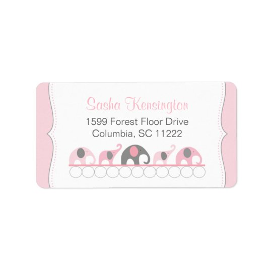 Pink and Grey Elephants Baby Girl Shower Label