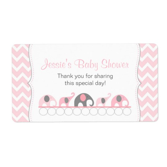 Pink and Grey Elephants Water Bottle Favour Label