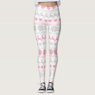 Pink And Grey Fair Isle Leggings