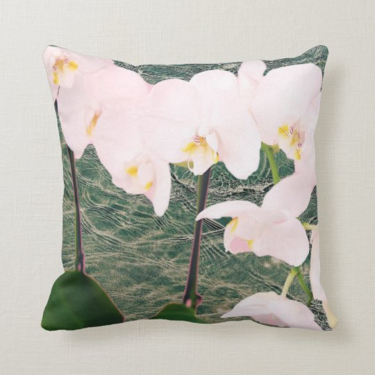 Pink and grey floral cushion
