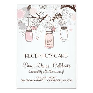 Pink and Grey Floral Mason Jars Reception Card 9 Cm X 13 Cm Invitation Card