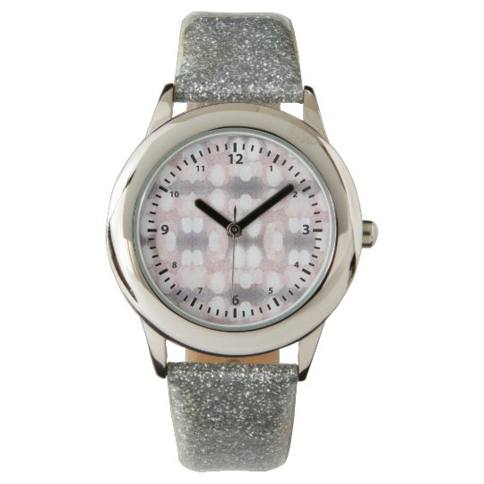 Pink And Grey Glitter Looking Pattern Watch