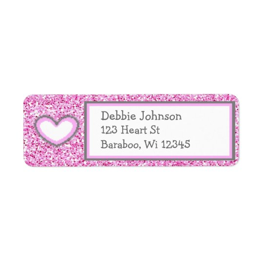 Pink and Grey Glitter Return Address Sticker