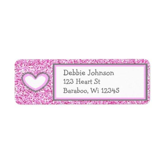 Pink and Grey Glitter Return Address Sticker Return Address Label