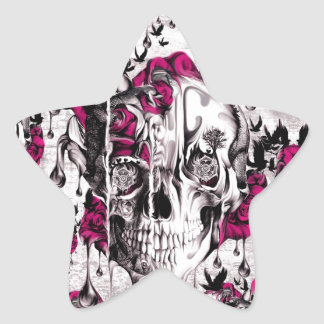 Pink and grey grunge melting skull star sticker