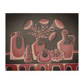 Pink and grey home kithcen themed design wood print