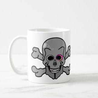 Pink and grey jolly roger mugs