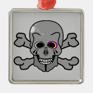Pink and grey jolly roger Silver-Colored square decoration