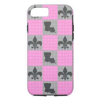 Pink and Grey Louisiana Fleur De Lis Phone Case