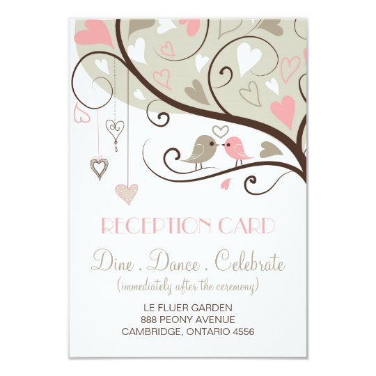 Pink and Grey Lovebirds Wedding Reception Card
