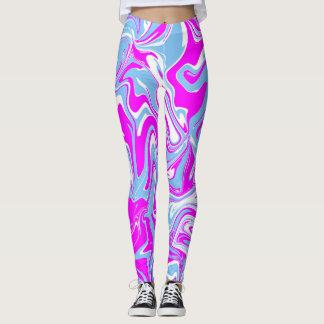 Pink and grey marble abstract effect leggings. leggings