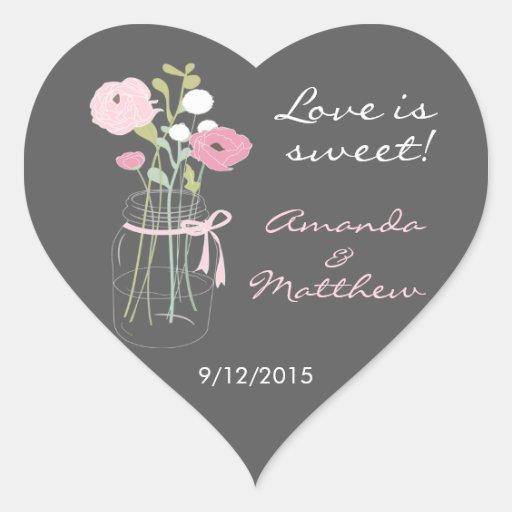 Pink and Grey Mason Jar Wedding Favor Stickers