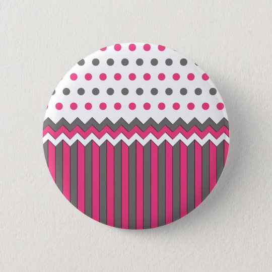 Pink and Grey Pattern 6 Cm Round Badge