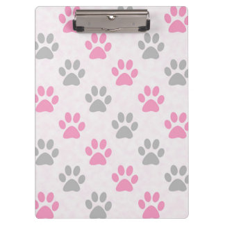Pink and grey paw prints pattern clipboards