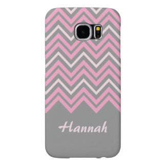 Pink and Grey Personalized Chevron Pattern Samsung Galaxy S6 Cases