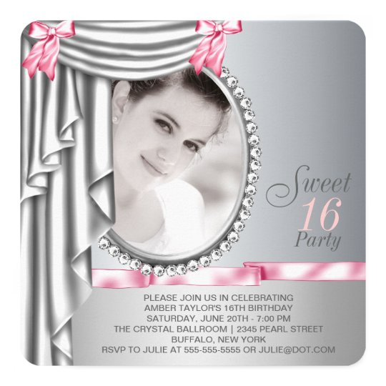 Pink and Grey Photo Sweet 16 Birthday Party Card