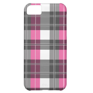 Pink and Grey Plaid Design iPhone 5C Case