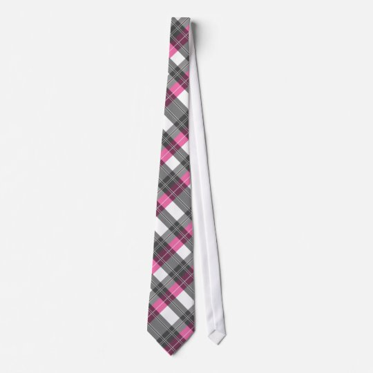 Pink and grey plaid neck tie