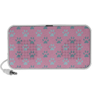 Pink and grey puppy paw prints portable speakers