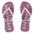 Pink and Grey Rugby Stripes with Custom Name Flip Flops