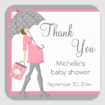 Pink And Grey Shopper Baby Shower Stickers