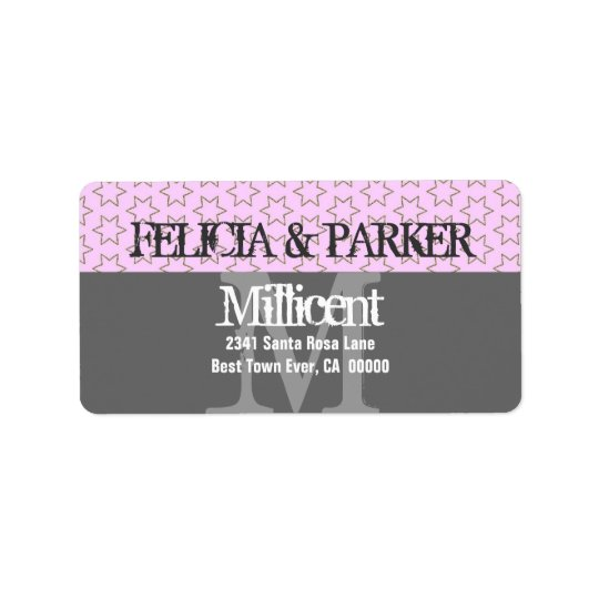 Pink and Grey Stars Wedding Monogram E257 Label