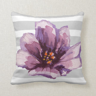 Pink and Grey Striped Watercolor Floral Pillow