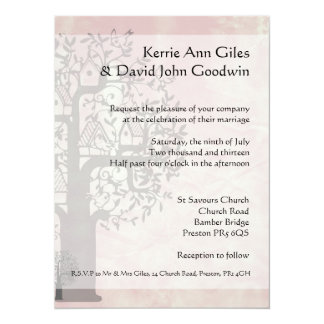 Pink and Grey Tree and Bird House 14 Cm X 19 Cm Invitation Card