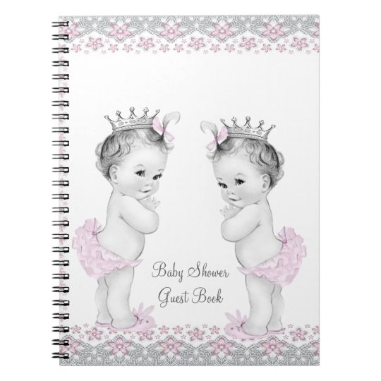 Pink and Grey Twins Baby Shower Guest Book