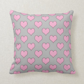 Pink and grey valentine hearts pillow
