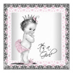 Pink and Grey Vintage Baby Girl Shower 13 Cm X 13 Cm Square Invitation Card