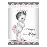 Pink and Grey Vintage Baby Girl Shower 13 Cm X 18 Cm Invitation Card