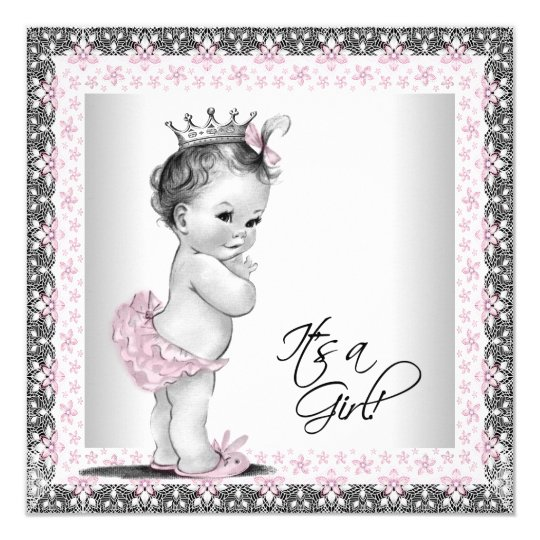 Pink and Grey Vintage Baby Girl Shower Card