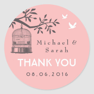 Pink and Grey Vintage Bird Cage Wedding Sticker