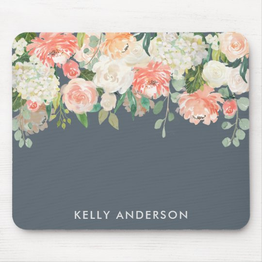 Pink and Grey Watercolor Floral with Your Name Mouse Mat