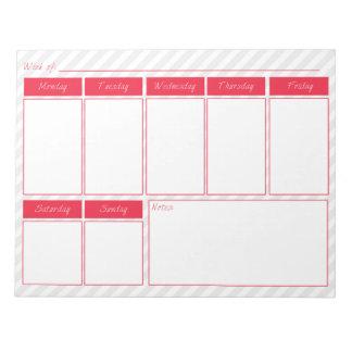 Pink and Grey Weekly Calendar Notepad