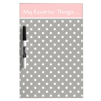Pink and Grey With White Polka Dots Personalized Dry Erase Board